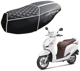 Mototrance PU Leather Designer Bike Scooter Seat Cover (MTSC-303-BLWH) for Honda Aviator