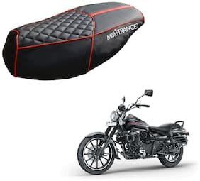 Mototrance PU Leather Designer Bike Scooter Seat Cover (MTSC-303-BLRD) for Bajaj Avenger
