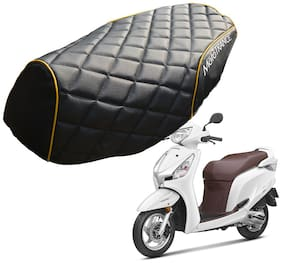 Mototrance PU Leather Designer Bike Scooter Seat Cover (MTSC-304-BLYW) for Honda Aviator