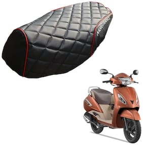 Mototrance PU Leather Designer Bike Scooter Seat Cover (MTSC-304-BLRD) for TVS Jupiter