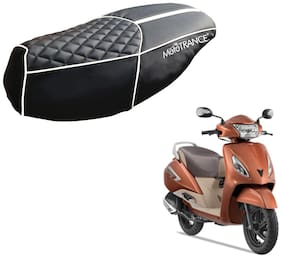 Mototrance PU Leather Designer Bike Scooter Seat Cover (MTSC-303-BLWH) for TVS Jupiter