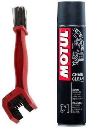 Motul C1 Chain Clean Clube (400 ml) with GrandPitstop Bike Chain Cleaning Brush Red
