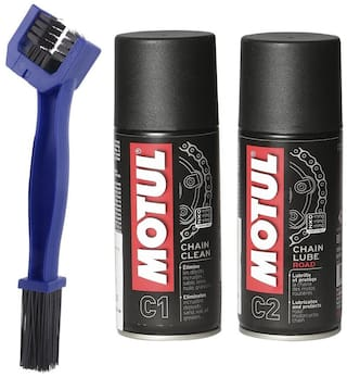 Motul Combo of C2 Chain Lube and C1 Chain Clean Lube (150 ml) with GrandPitstop Chain Cleaning Brush