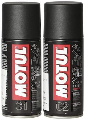 Motul Combo of C2 Chain Lube (150 ml) and C1 Chain Clean for All Bikes (150 ml)