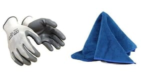 MP Biker Anti Skid Hand Gloves with Cleaning Microfiber Cloth Duster