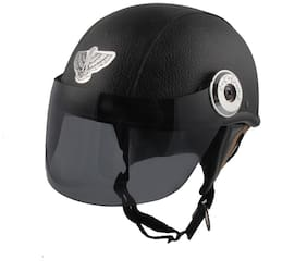 MPI Black Leather Look Open Face Helmet For Moterbike Helmet for MEN