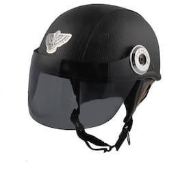 36141aee776 MPI Black Leather Look Open Face Helmet For Moterbike Helmet for MEN