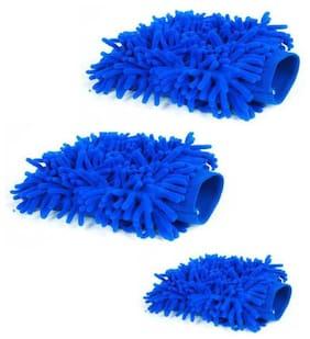 MPI Car Bike Vehical Multipurpose Washing Clwaning Wash Mitt Hand Glove -Set of 3