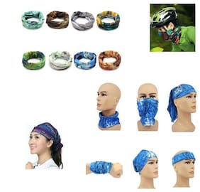 MPI (Pack of 8) Men Woman Bandana Cap Skull Head Wrap Headband Scarf Face Mask Free size