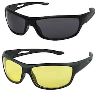 MPI Stylish Night Vision Unisex Driving Sunglasses Combo (Black ,Yellow)