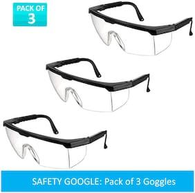 MRDEVA Safety Goggles Transparent Shield Protective Wear Set of 3
