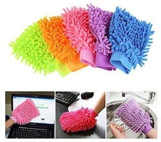 Multipurpose Double Sided Microfibre Soft Super Mitt Dust and Home Kitchen Car Window Glass Cleaning Gloves Assorted Colours (Pack of 5)