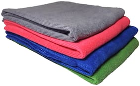 Multipurpose Microfibre- Large Size - 62 X 32 Cms Each - Cleaning Cloth, Polishing & Detailing Cloth - Super Absorbent - For Automotive, Home, Jewellery, Furniture, Kitchen   Wet & Dry - 4 Pcs