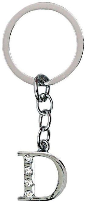 NFLIX Alphabet D Letter Logo Metal Keychain | Keyring | Key Ring (Silver)