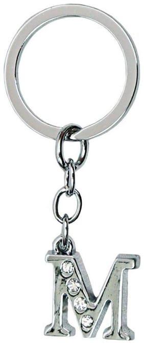 NFLIX Alphabet M Letter Logo Metal Keychain | Keyring | Key Ring (Silver)