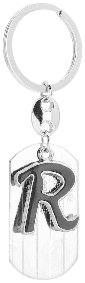 NFLIX Alphabet R Letter Logo Metal Keychain with Plate | Keyring | Key Ring (Silver)