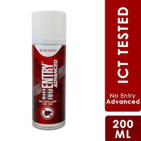 NICHEM No Entry Advanced Rat Repellent Aerosol Spray for Cars, Bitter Smell & Taste, Certified Spray to Repel Rats from Cars, Comes with Leak Free Easy to Spray Nozzle, Lasts Upto 3 Months.