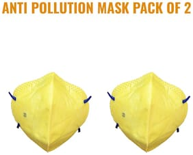 Noymi Anti-Pollution Mask With Activated Carbon For Men And Women Mask (Yellow),(Pack of 2)