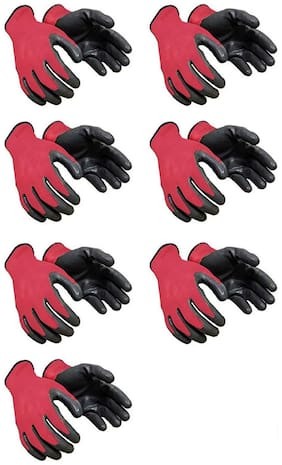 Nylon safety hand gloves red and black  multipupose use (Pair of 7)