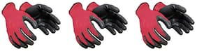 Nylon safety hand gloves red and black  multipupose use (Pair of 3)