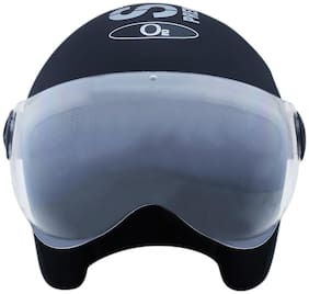 O2 Black Pilot Style Helmet with Goggles Visor AA45 Series L Size