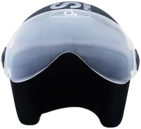 O2 Black Pilot Style Helmet with Goggles Visor AA38 Series L Size