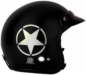 O2 Black Star Open Face ISI Certified Helmet AA39 Series