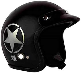 O2 Black Star Open Face ISI Certified Helmet AA70 Series L Size
