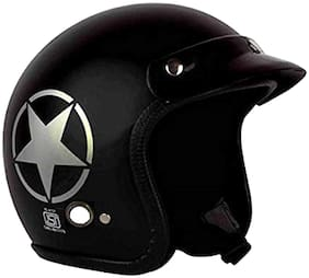 O2 Black Star Open Face ISI Certified Helmet AA82 Series L Size