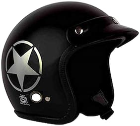 O2 Black Star Open Face ISI Certified Helmet AA36 Series L Size