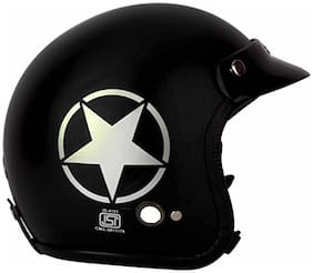 O2 Black Star Open Face ISI Certified Helmet AA85 Series L Size