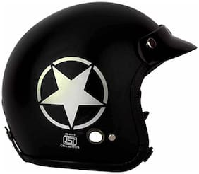 O2 Black Star Open Face ISI Certified Helmet AA23 Series L Size