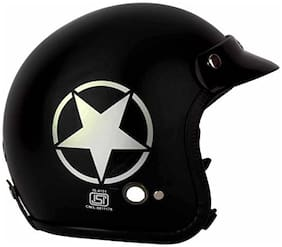 O2 Black Star Open Face ISI Certified Helmet AA87 Series L Size