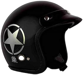 O2 Black Star Open Face ISI Certified Helmet AA66 Series L Size