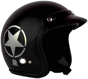 O2 Black Star Open Face ISI Certified Helmet AA72 Series L Size