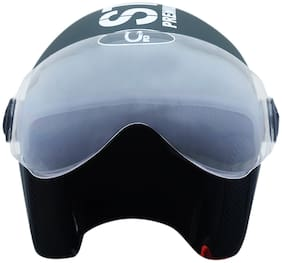 O2 Green Pilot Style Dashing Helmet with Goggle Style Visor for Men and Women AA55 Series L Size