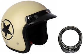 O2 Khaki Star Open Face Light Brown ISI Certified Helmet AA48 Series