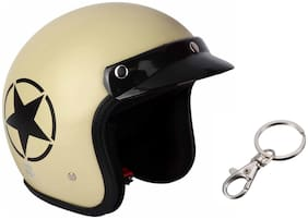 O2 Khaki Star Open Face Light Brown ISI Certified Helmet AA70 Series L Size