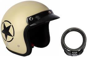 O2 Khaki Star Open Face Light Brown ISI Certified Helmet AA4 Series