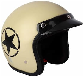 O2 Khaki Star Open Face Light Brown ISI Certified Helmet AA61 Series L Size