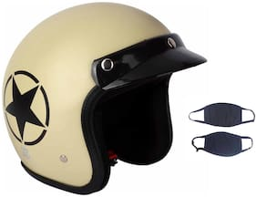 O2 Khaki Star Open Face Light Brown ISI Certified Helmet AA35 Series L Size