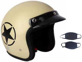O2 Khaki Star Open Face Light Brown ISI Certified Helmet AA35 Series
