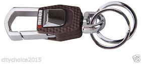 Omuda 3717 Plastic And  Metal Hook With Locking Key Chain With Double Rings Key Ring(1 Piece)