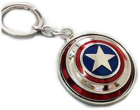 Optimus Traders The Avengers Captain America Sheild Rotating Disc Glossy Metal Keychain(Silver)