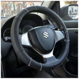 OSHOTTO 100% Genuine Leather Car Steering Cover Black Colour for Skoda Octavia