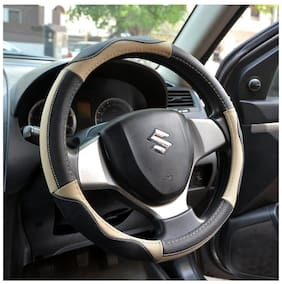 OSHOTTO 100% Genuine Leather Car Steering Cover Black and Beige Colour for Skoda Fabia
