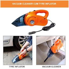 Oshotto 100W Heavy Duty Car Vacuum Cleaner Cum 120W Heavy Duty Air Compressor/Tyre Inflator (2 in 1) for Fiat Linea (Orange)