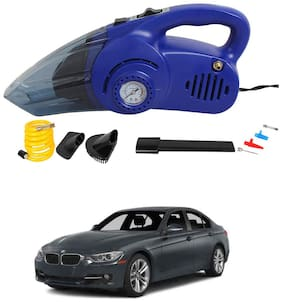 Oshotto 120W Heavy Duty Air Compressor Cum 100W Heavy Duty Car Vacuum Cleaner (2 in 1) Compatible with BMW 3 Series - (Blue)