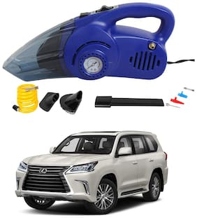Oshotto 120W Heavy Duty Air Compressor Cum 100W Heavy Duty Car Vacuum Cleaner (2 in 1) Compatible with Lexus LX 570 - (Blue)