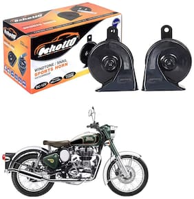 Oshotto 12V Car Horn- Trumpet Sound 2 pcs Set (Low + High) Compatible with Royal Enfield Classic Chrome (Black)
